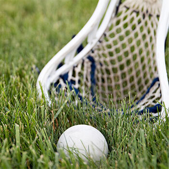 Lacrosse bat and ball on the ground
