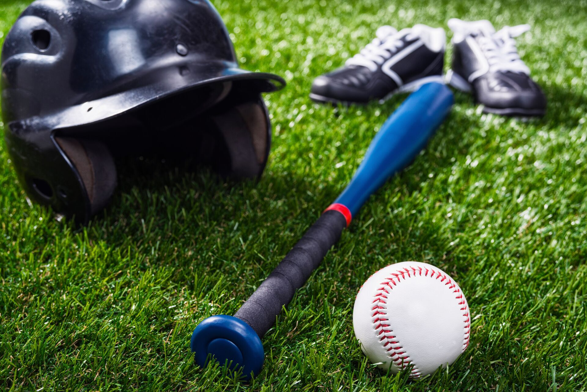 Baseball kit for kids placed on grass