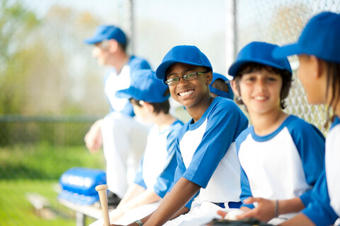 Diverse boys baseball team
