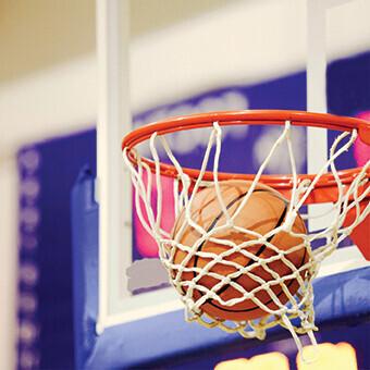 Basketball basket with the ball