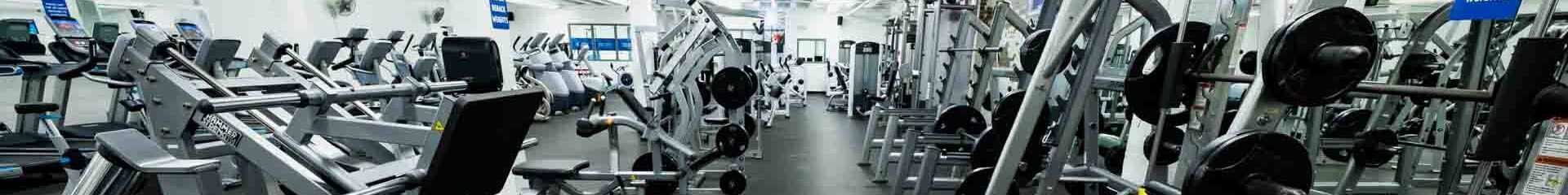 Panoramic view of a gym filled with equipment