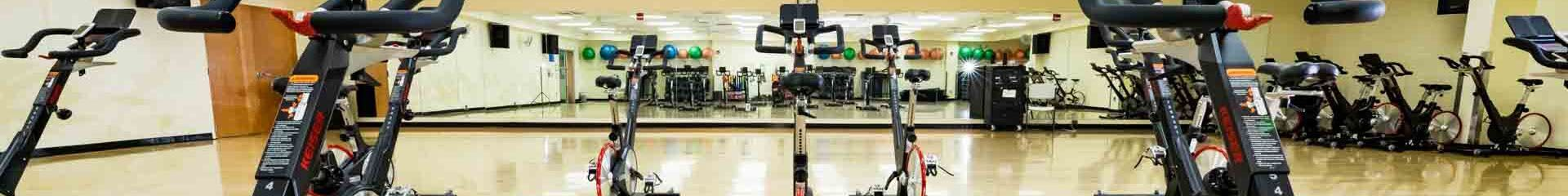 Panoramic view of cycling machine in the gym
