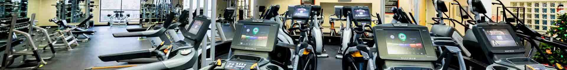 Panoramic view of treadmills in the gym